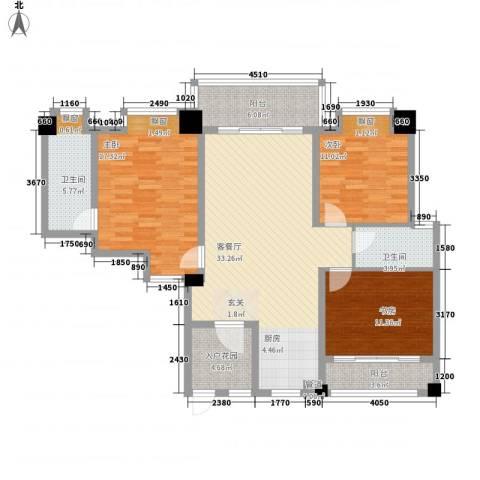 怡和苑3室1厅2卫0厨140.00㎡户型图
