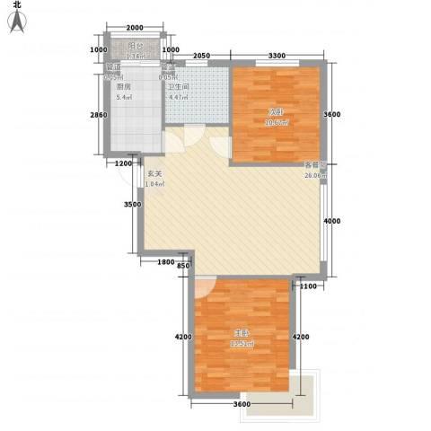 辰宇枫景瑞阁2室1厅1卫1厨68.89㎡户型图