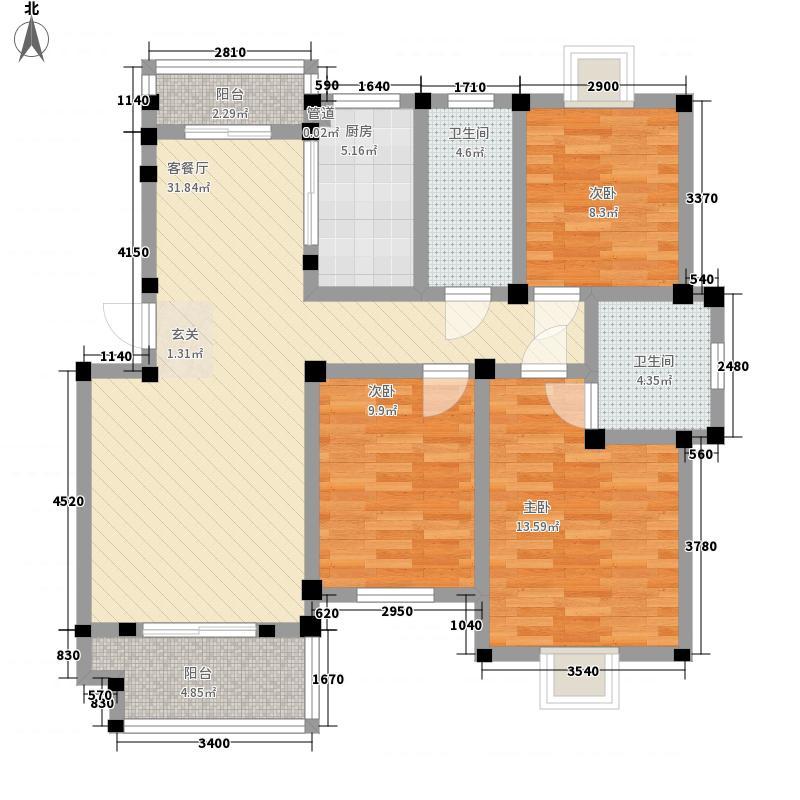 晴山蓝城二期125.00㎡二期17号楼C1户型3室2厅2卫