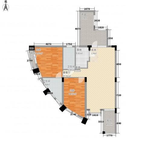 瀛寰度假公馆2室1厅2卫1厨129.00㎡户型图