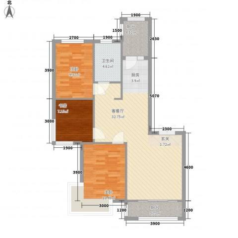 阳光新城三期中央街区3室1厅1卫0厨101.00㎡户型图