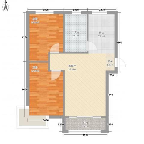 阳光新城三期中央街区2室1厅1卫0厨82.00㎡户型图