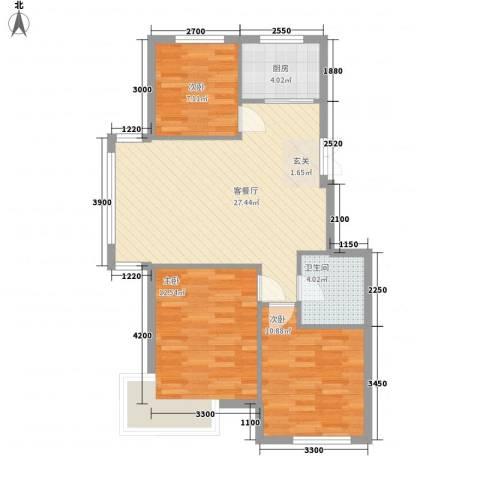 阳光新城三期中央街区3室1厅1卫1厨92.00㎡户型图
