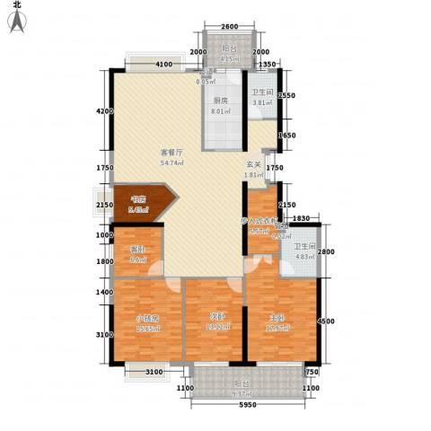 蔚蓝国际3室1厅2卫1厨149.35㎡户型图
