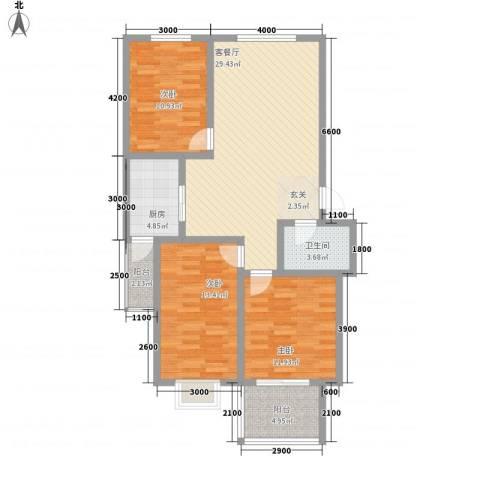 鑫缘佳地3室1厅1卫1厨127.00㎡户型图