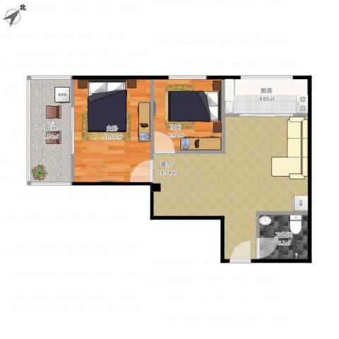 元丰怡家2室1厅1卫1厨69.00㎡户型图