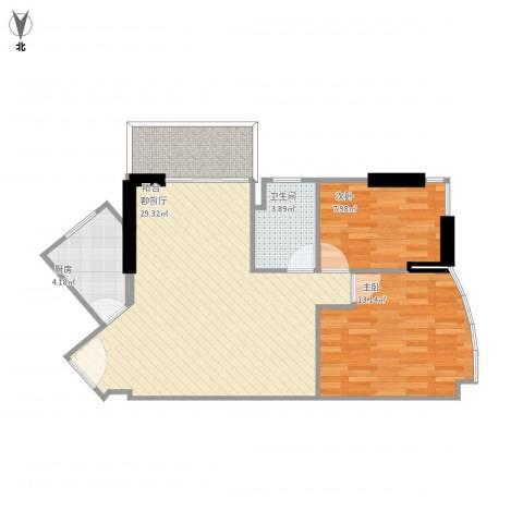 天立俊园2室1厅1卫1厨87.00㎡户型图