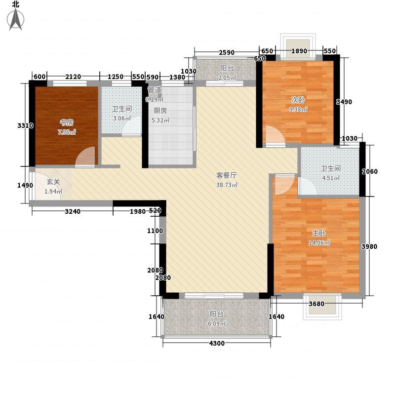富丽金澜湾1.76㎡一期5、6号楼A1户型3室2厅2卫1厨