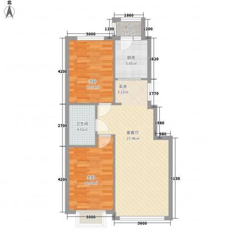 阳光新城三期中央街区2室1厅1卫1厨86.00㎡户型图