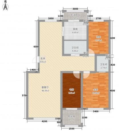 阳光华尔兹3室1厅2卫1厨136.00㎡户型图