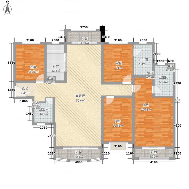 青岛星河湾12.00㎡1期6#7#8#C1户型4室2厅4卫1厨
