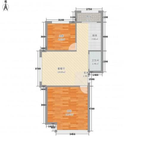 金汇上元2室1厅1卫0厨78.00㎡户型图