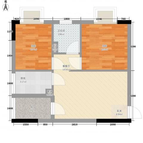 天明豪庭2室1厅1卫1厨58.00㎡户型图