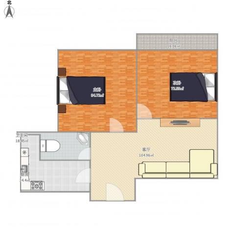 鲁铁花样年华2室1厅1卫1厨429.00㎡户型图