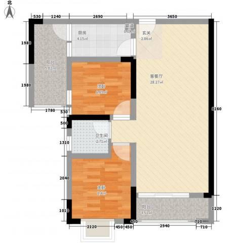 锦绣世家2室1厅1卫1厨62.00㎡户型图