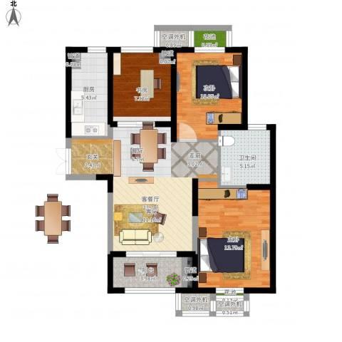 置地青湖语城3室1厅1卫1厨108.00㎡户型图