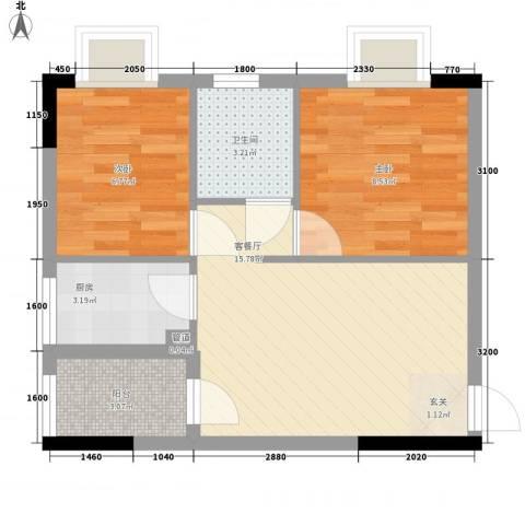 天明豪庭2室1厅1卫1厨65.00㎡户型图