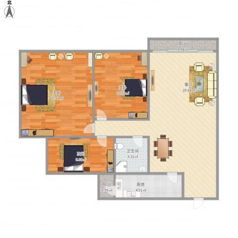 名苑小区NS001993室1厅1卫1厨100.00㎡户型图