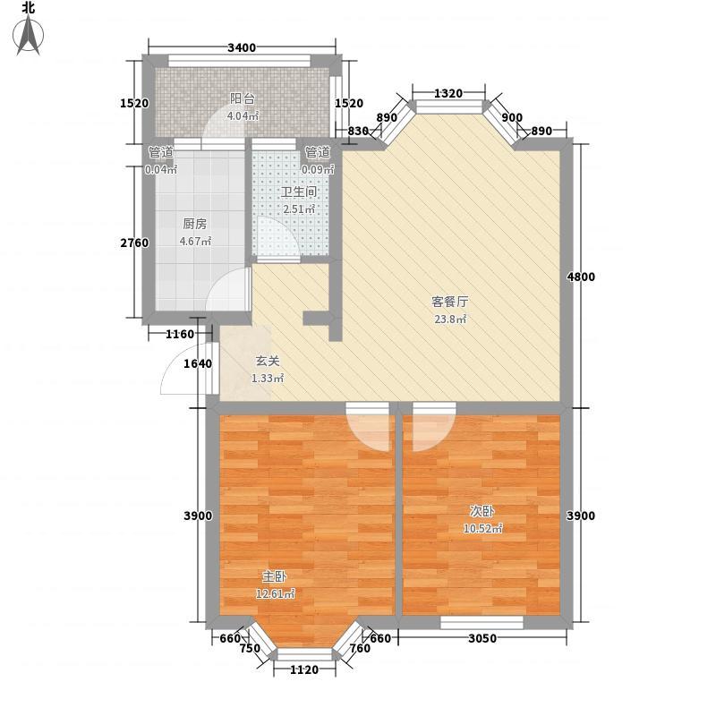 华泰世纪新城77.12㎡二期H户型2室2厅1卫