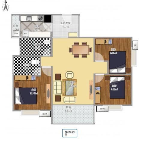 南约(南景新村)100平方面户型草图3室1厅2卫1厨110.00㎡户型图