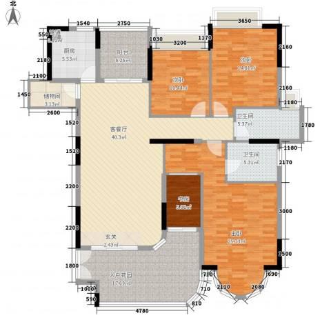 珠光御景湾4室1厅2卫1厨156.00㎡户型图