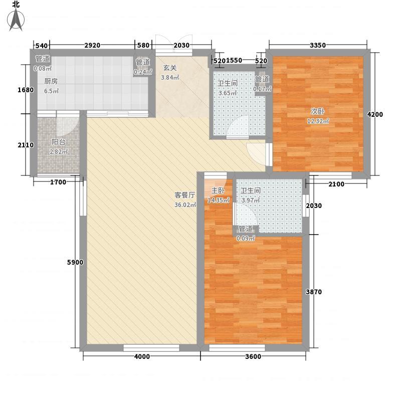 正弘蓝堡湾114.40㎡B2户型2室2厅2卫1厨