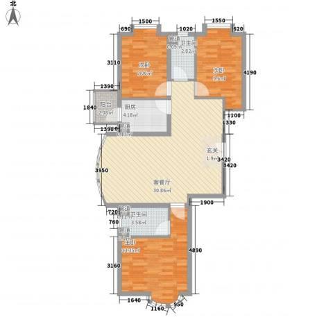中银百合美地3室1厅2卫1厨156.00㎡户型图