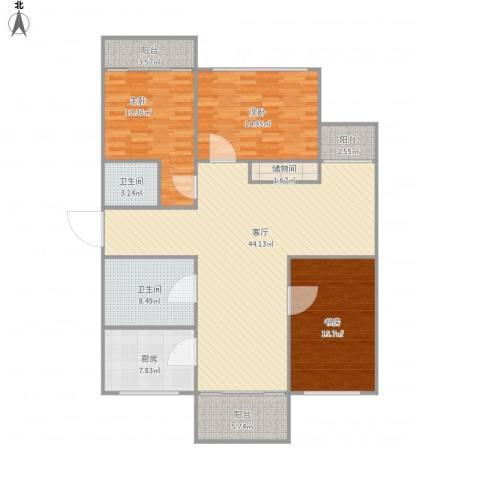 清雅苑3室1厅2卫1厨163.00㎡户型图