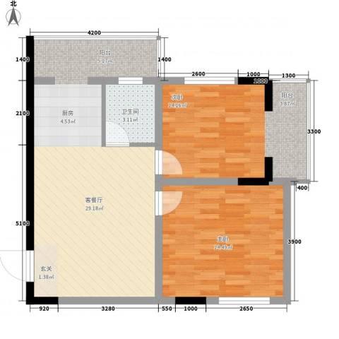 标点2室1厅1卫0厨60.94㎡户型图
