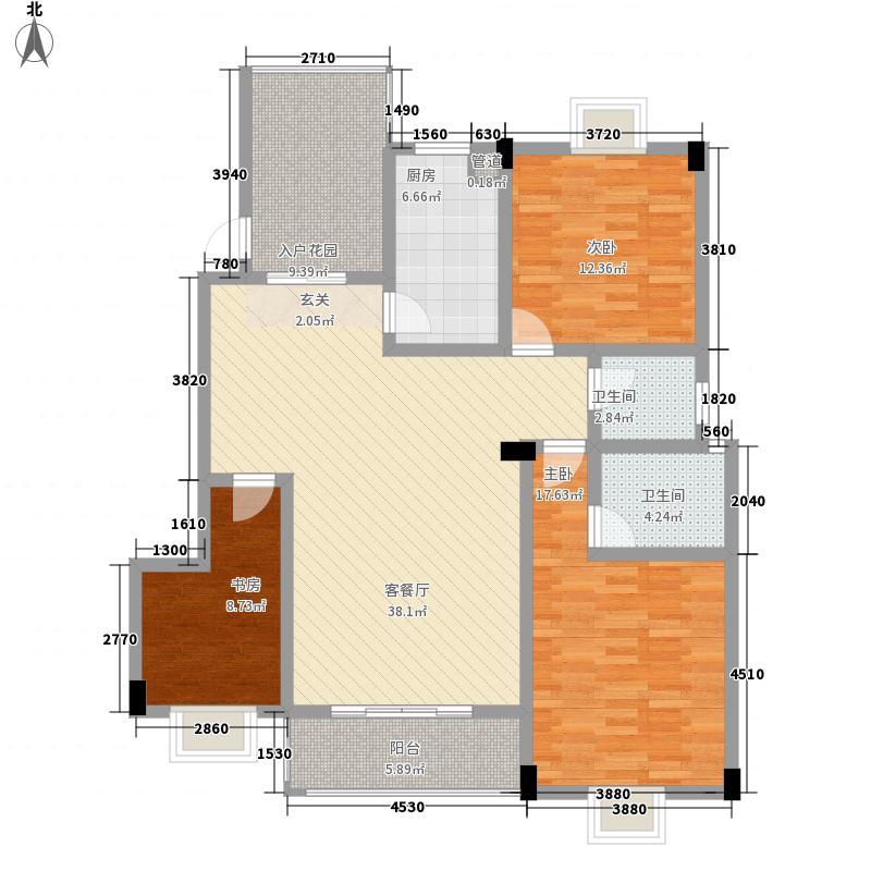 川海友邻133.00㎡3#A户型3室2厅2卫1厨