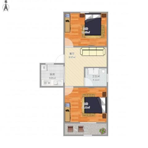 花园西村2室1厅1卫1厨61.00㎡户型图