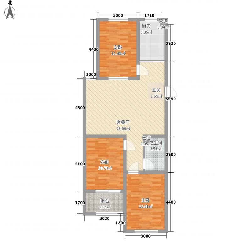 东方公寓11.54㎡A座标准层C户型3室2厅1卫1厨