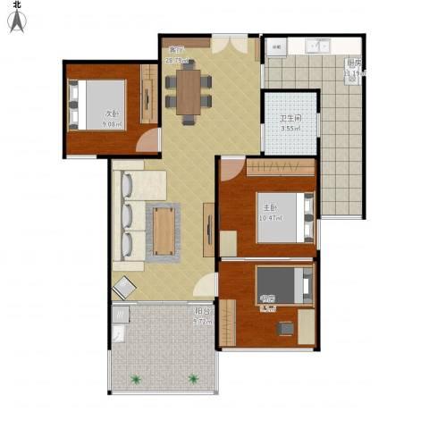 云立方3室1厅1卫1厨110.00㎡户型图