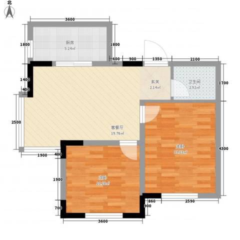 标点2室1厅1卫1厨81.00㎡户型图
