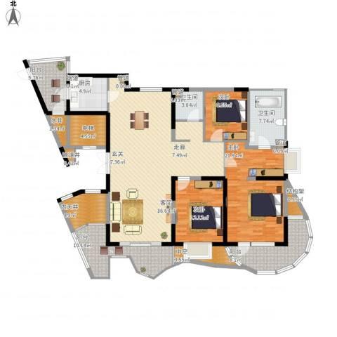 五洲华府3室1厅2卫1厨212.00㎡户型图