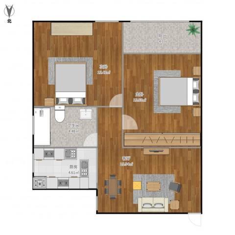 金桥四街坊2室1厅1卫1厨65.00㎡户型图