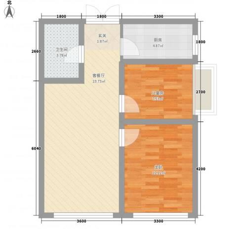 丁豪蓝调国际2室1厅1卫1厨82.00㎡户型图