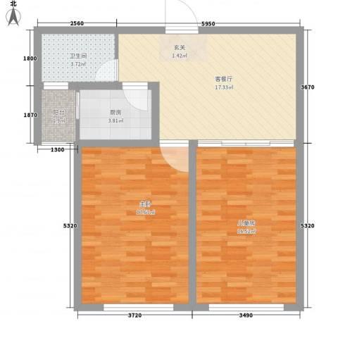 丁豪蓝调国际2室1厅1卫1厨87.00㎡户型图