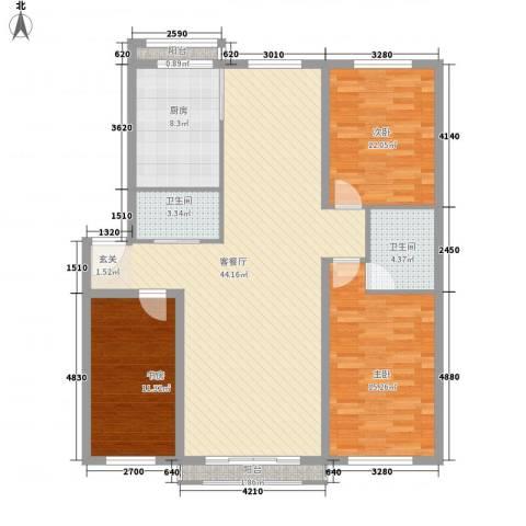 东皇银河家园3室1厅2卫1厨143.00㎡户型图