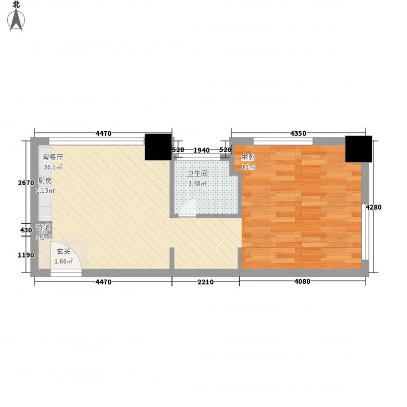 亚胜铂第公馆62.74㎡K户型1室1厅1卫1厨