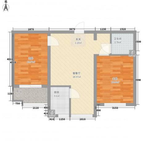 翡翠庄园2室1厅1卫1厨73.00㎡户型图
