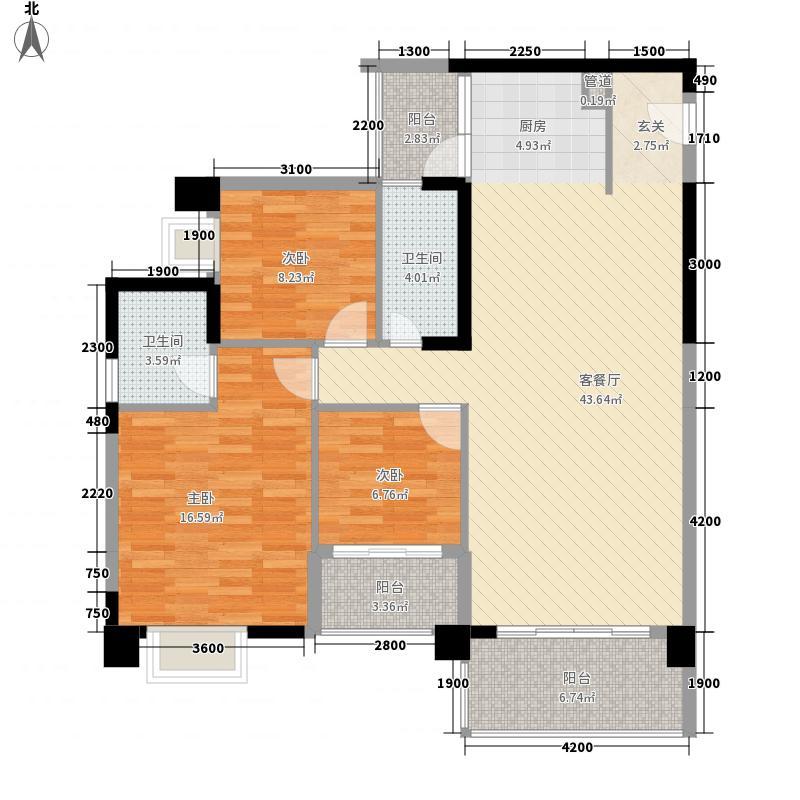 金绿洲翠园124.32㎡32#D-1户型3室2厅2卫1厨