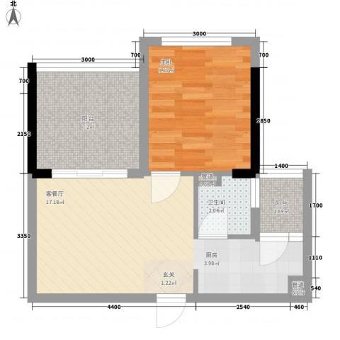 唯美嘉园1室1厅1卫0厨37.57㎡户型图