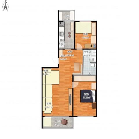 康居新城2室1厅1卫1厨118.00㎡户型图