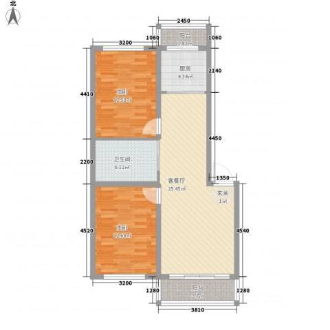 一汽22街区2室1厅1卫1厨66.65㎡户型图