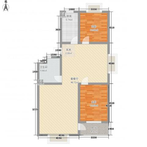 信佳花园2室1厅1卫1厨84.93㎡户型图
