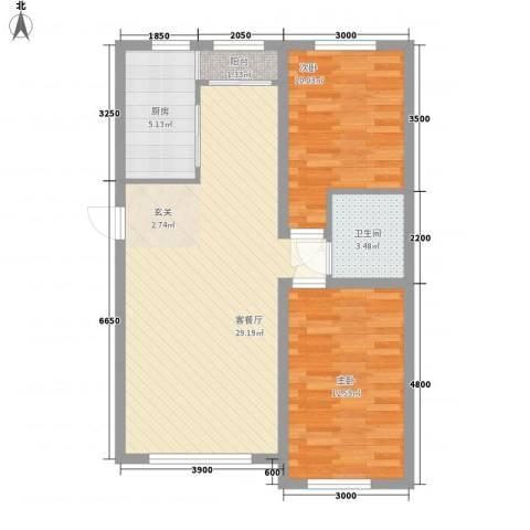 铖裕香榭湾2室1厅1卫1厨61.75㎡户型图