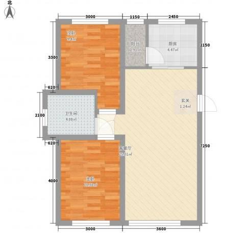 铖裕香榭湾2室1厅1卫1厨87.00㎡户型图
