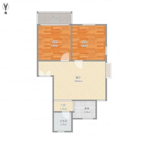 屿后南里2室1厅1卫1厨67.00㎡户型图