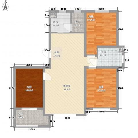 铖裕香榭湾3室1厅1卫1厨124.00㎡户型图
